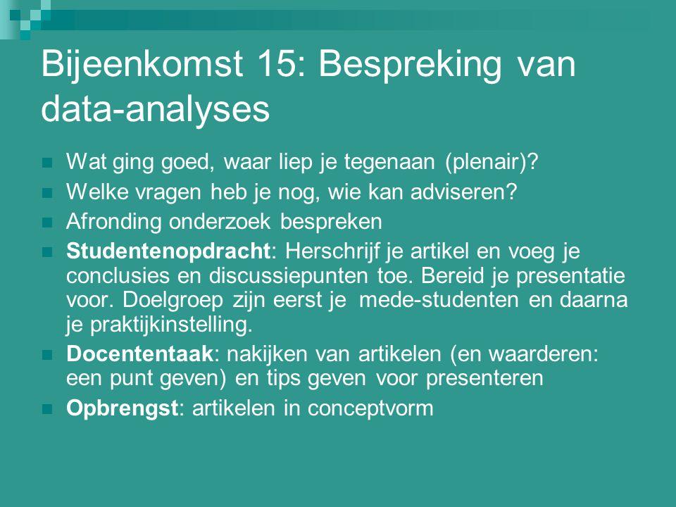 Bijeenkomst 15: Bespreking van data-analyses