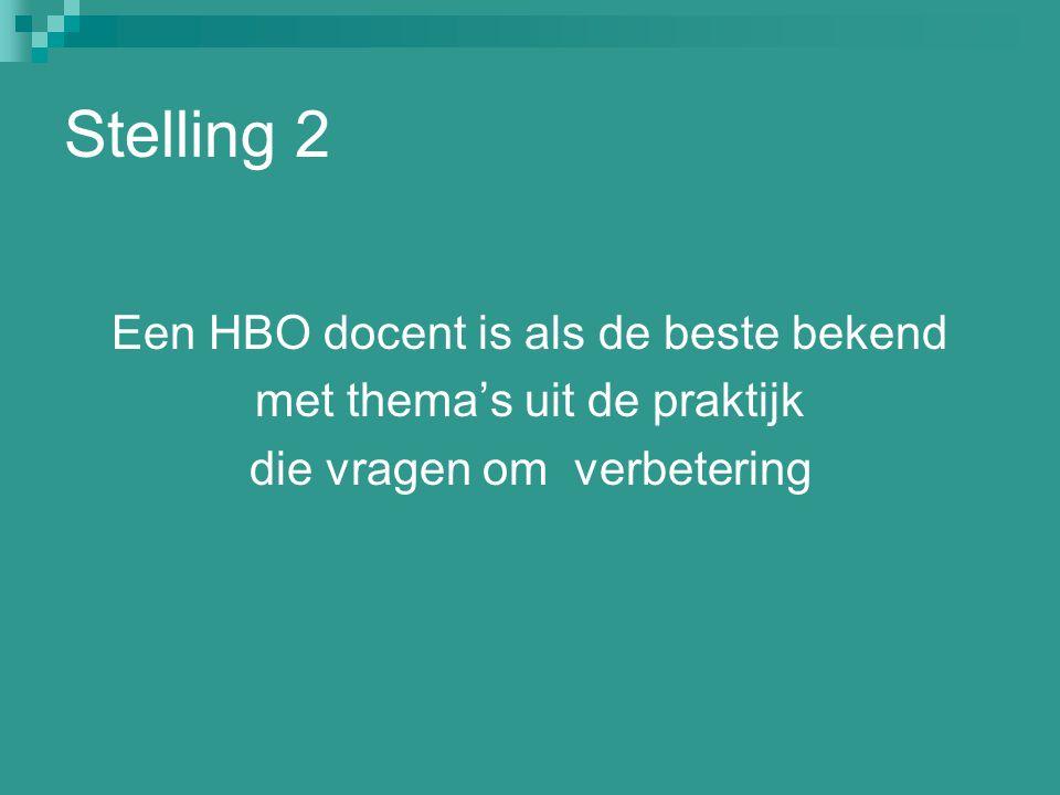 Stelling 2 Een HBO docent is als de beste bekend