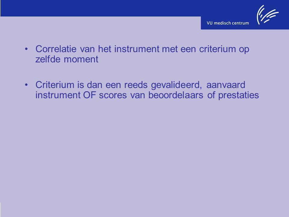 Correlatie van het instrument met een criterium op zelfde moment