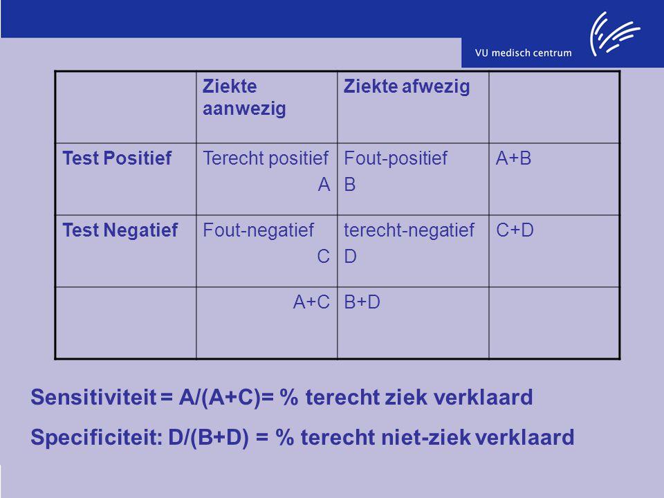Sensitiviteit = A/(A+C)= % terecht ziek verklaard