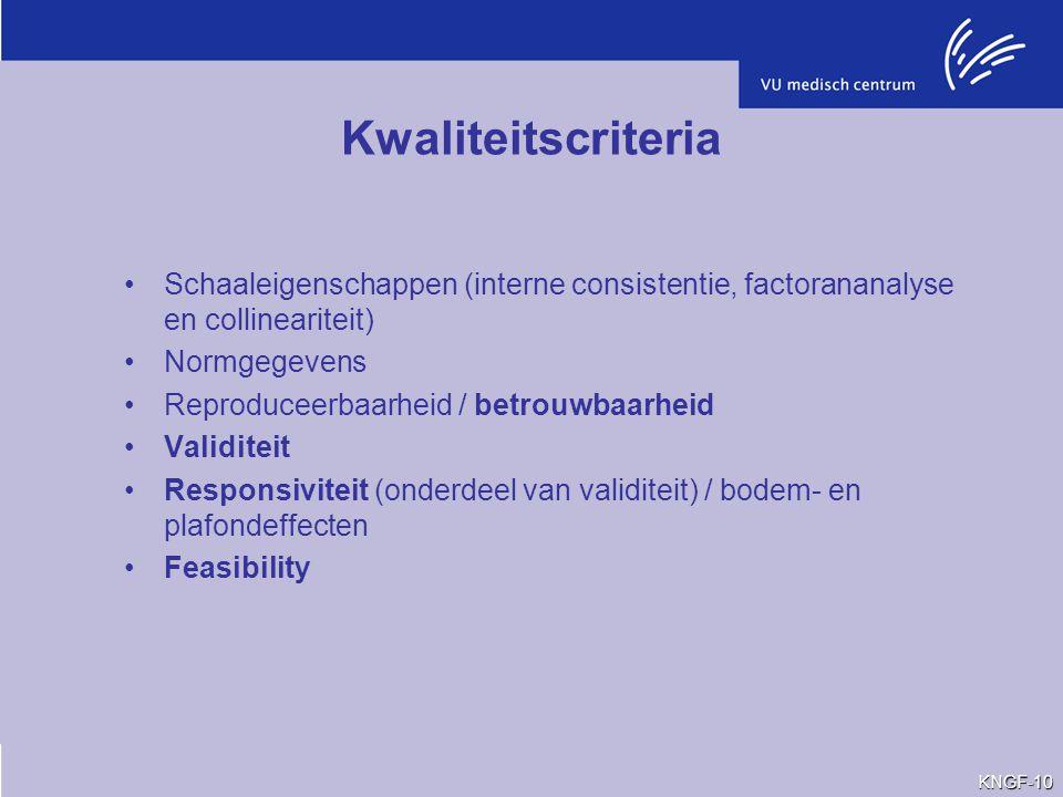 Kwaliteitscriteria Schaaleigenschappen (interne consistentie, factorananalyse en collineariteit) Normgegevens.