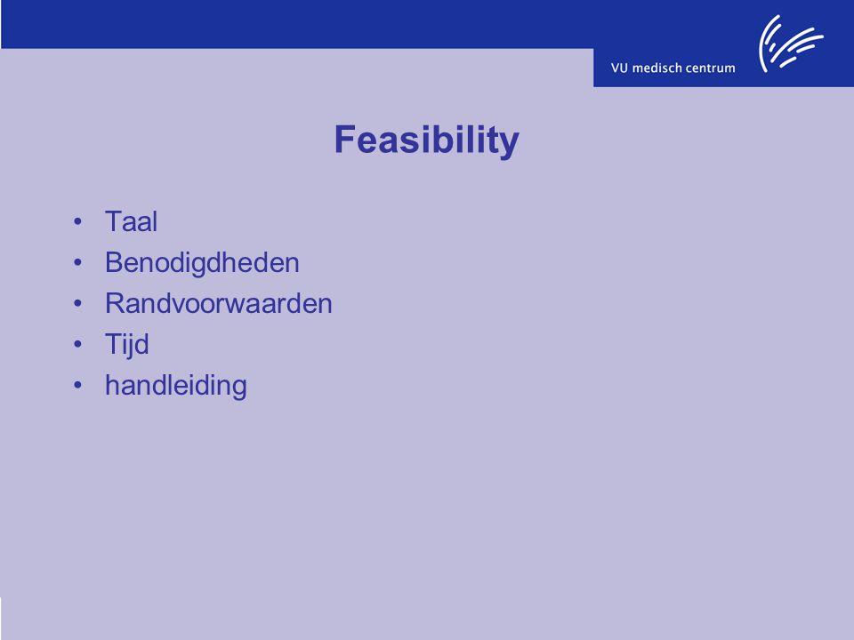 Feasibility Taal Benodigdheden Randvoorwaarden Tijd handleiding