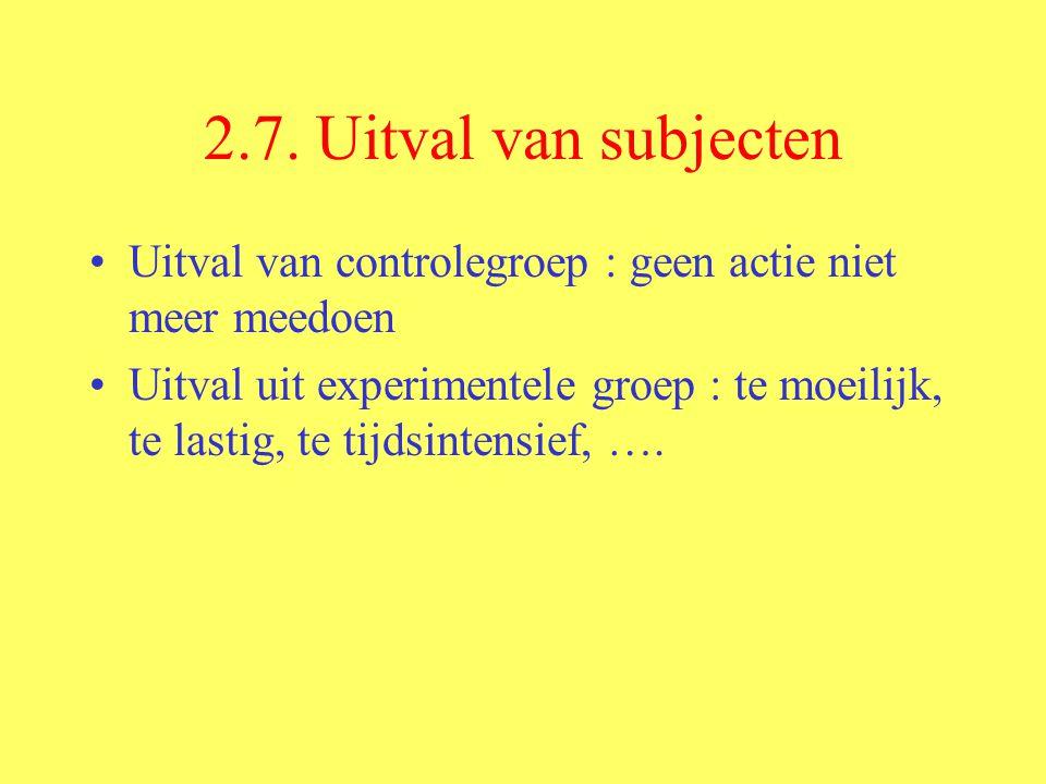 2.7. Uitval van subjecten Uitval van controlegroep : geen actie niet meer meedoen.