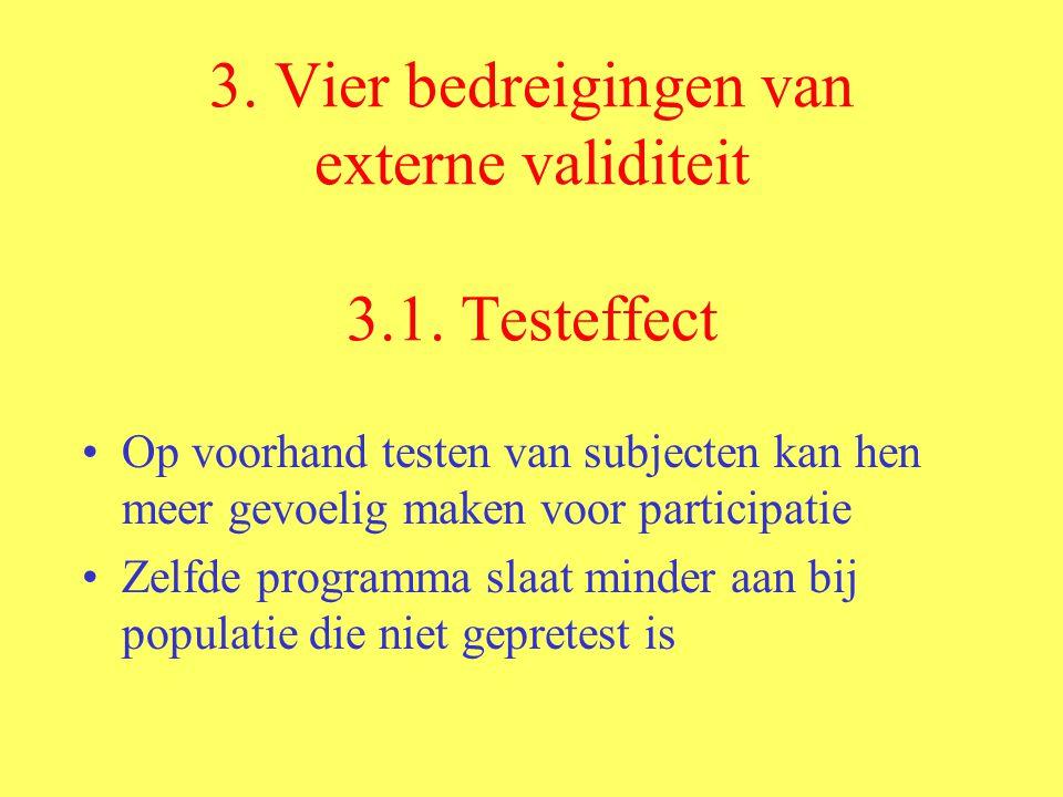 3. Vier bedreigingen van externe validiteit 3.1. Testeffect