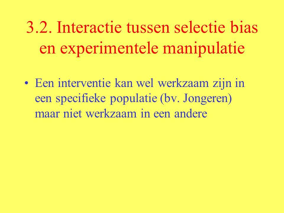 3.2. Interactie tussen selectie bias en experimentele manipulatie