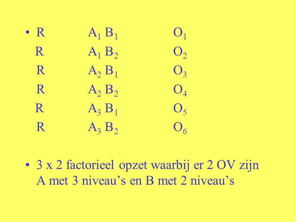 R A1 B 1 O1 R A1 B 2 O2. R A2 B 1 O3. R A2 B 2 O4. R A3 B 1 O5. R A3 B 2 O6.