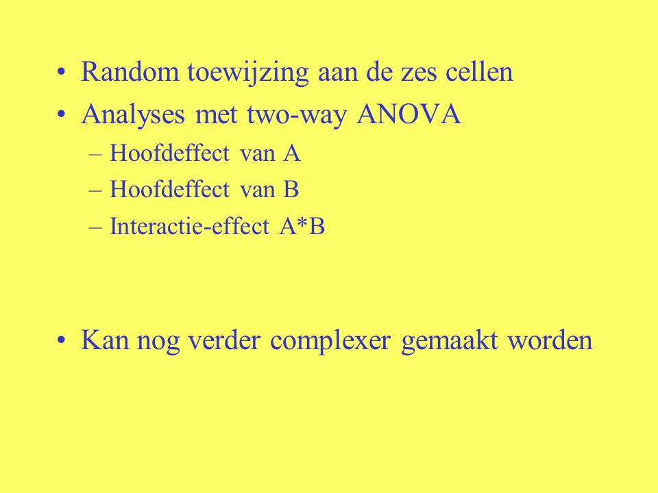 Random toewijzing aan de zes cellen Analyses met two-way ANOVA