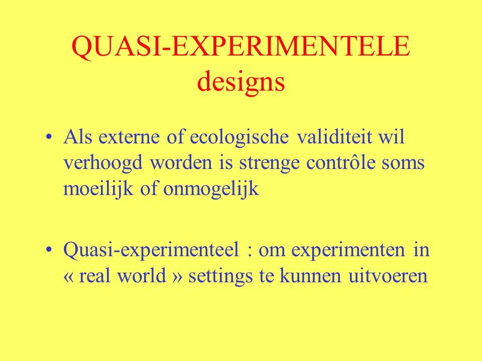 QUASI-EXPERIMENTELE designs