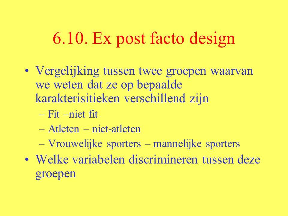 6.10. Ex post facto design Vergelijking tussen twee groepen waarvan we weten dat ze op bepaalde karakterisitieken verschillend zijn.