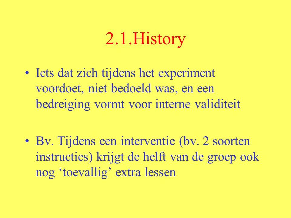 2.1.History Iets dat zich tijdens het experiment voordoet, niet bedoeld was, en een bedreiging vormt voor interne validiteit.