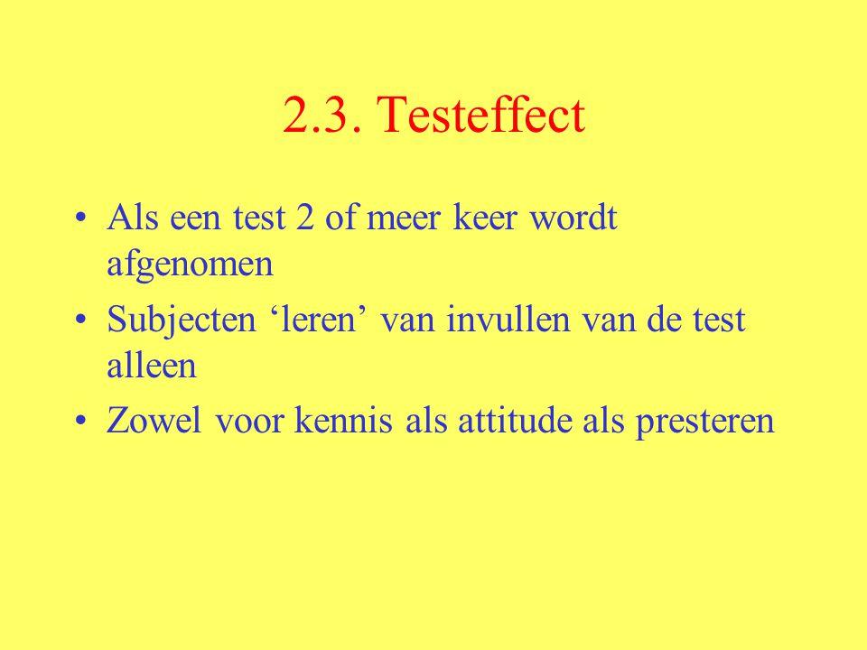 2.3. Testeffect Als een test 2 of meer keer wordt afgenomen