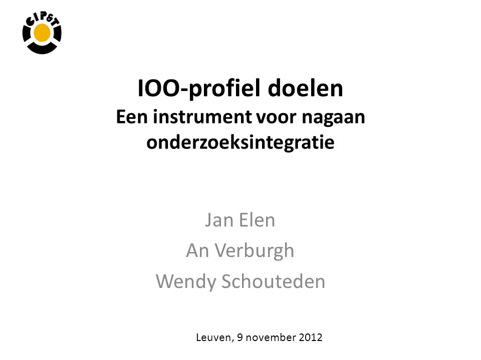 IOO-profiel doelen Een instrument voor nagaan onderzoeksintegratie