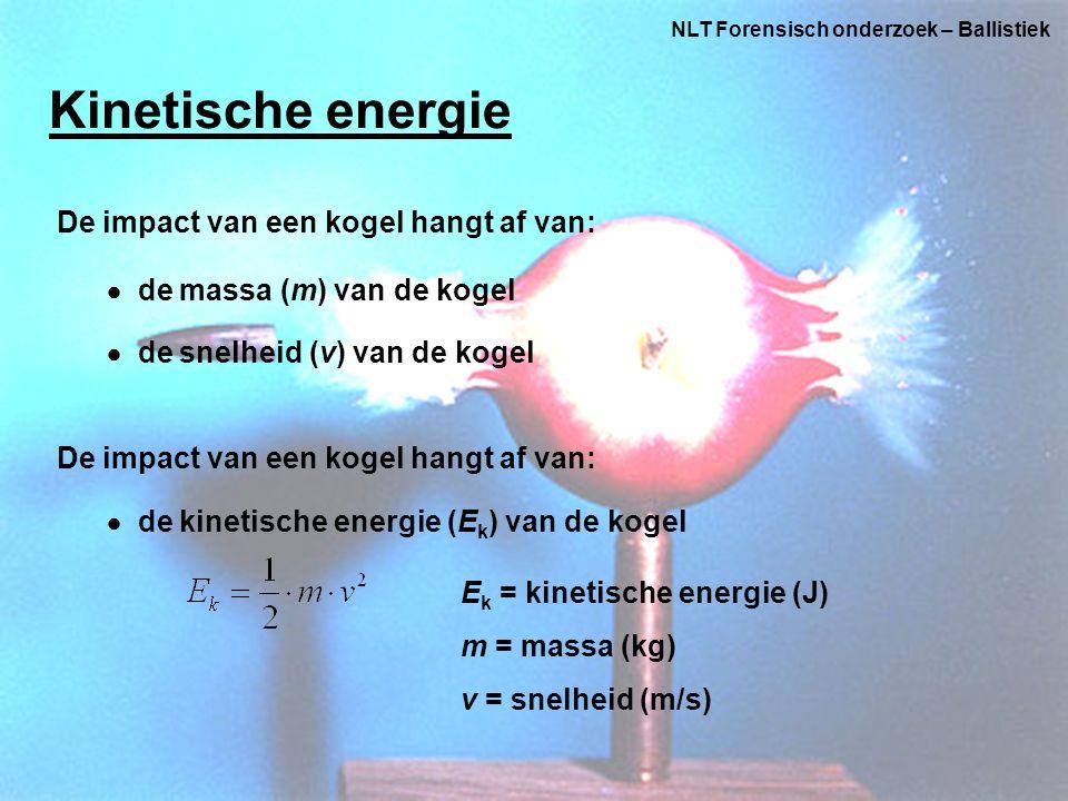 Kinetische energie De impact van een kogel hangt af van: