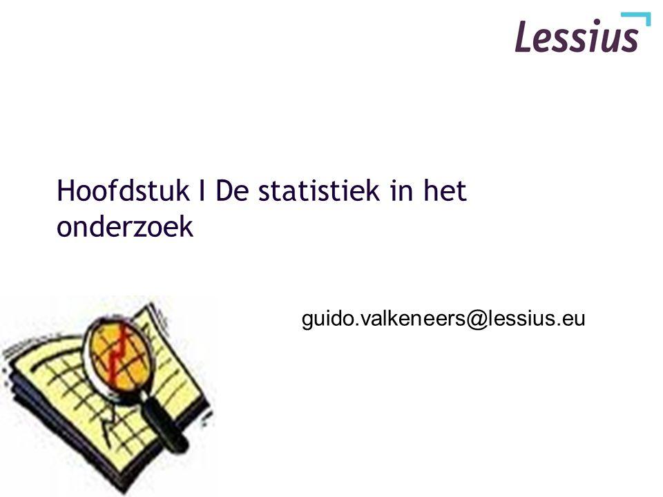 Hoofdstuk I De statistiek in het onderzoek