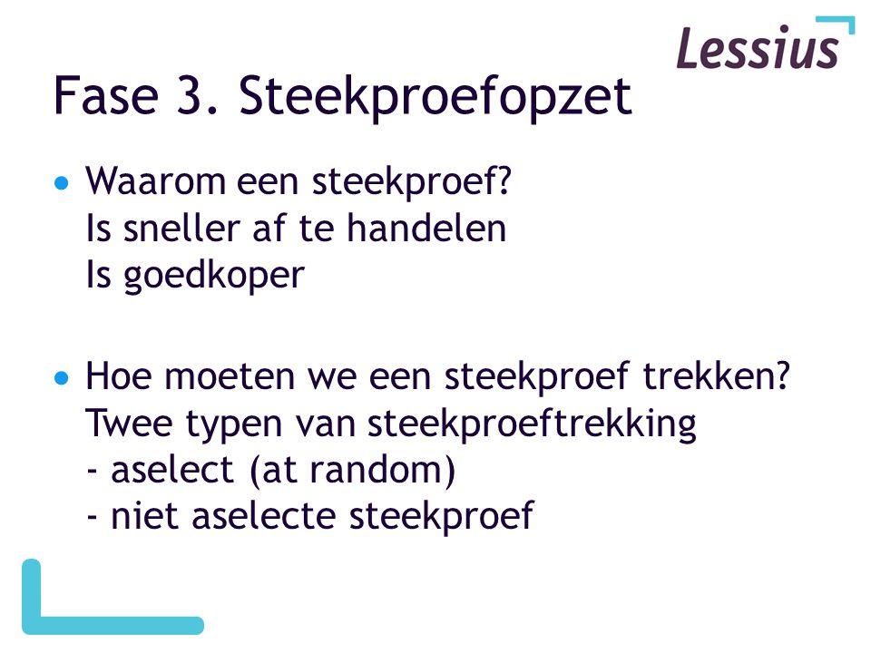 Fase 3. Steekproefopzet Waarom een steekproef Is sneller af te handelen Is goedkoper.