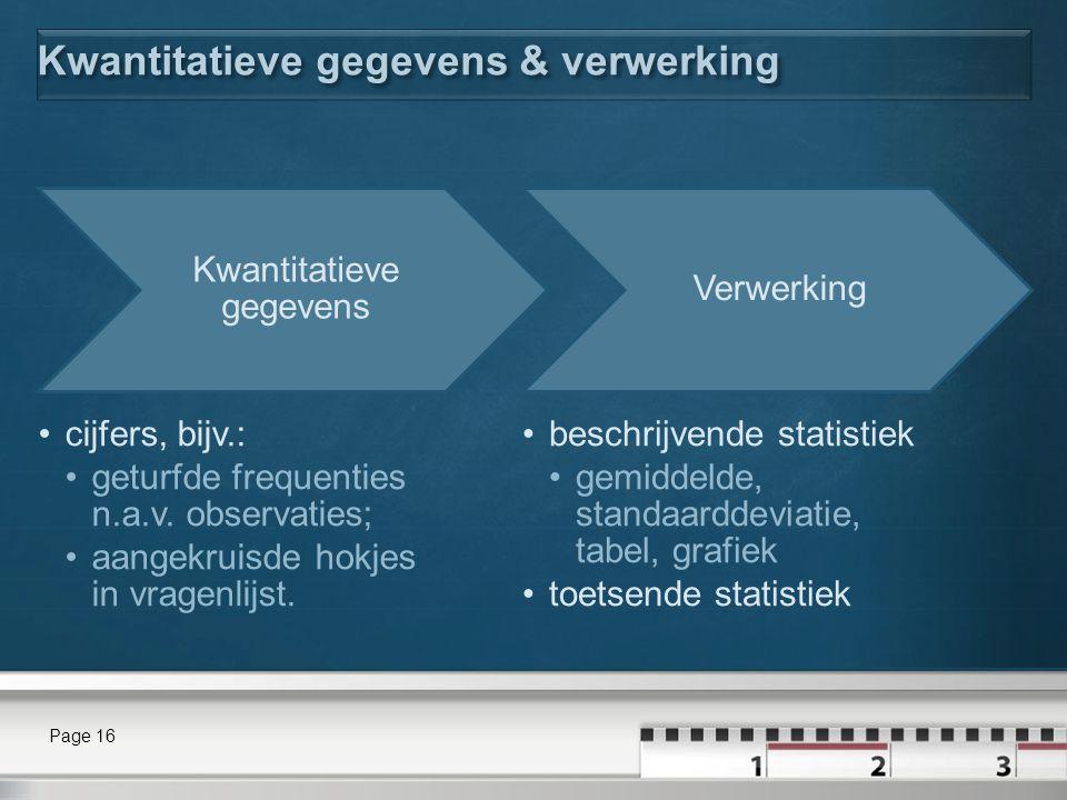 Kwantitatieve gegevens & verwerking