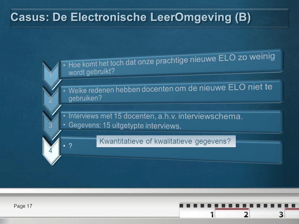Casus: De Electronische LeerOmgeving (B)