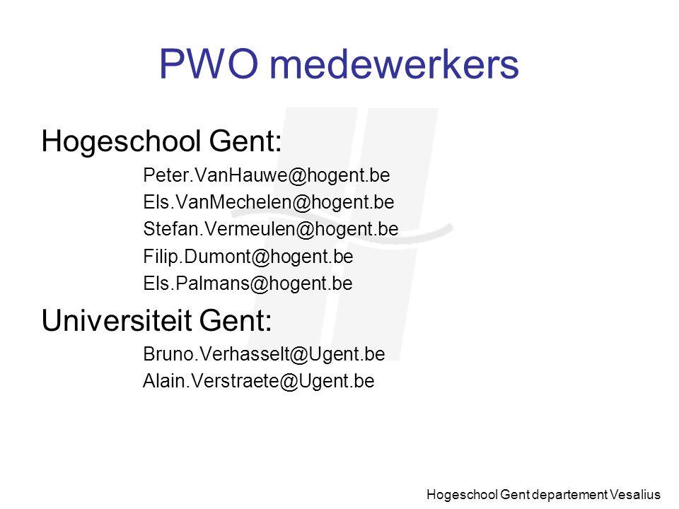 PWO medewerkers Hogeschool Gent: Universiteit Gent: