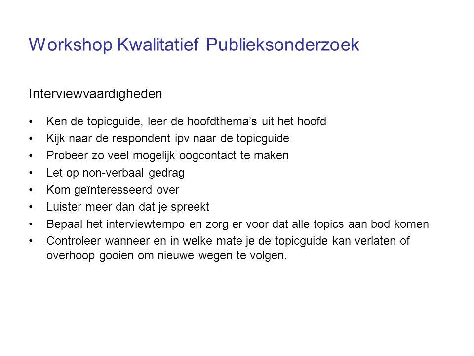 Workshop Kwalitatief Publieksonderzoek