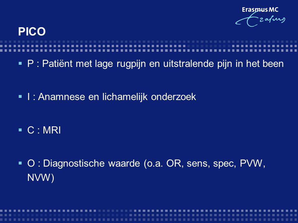 PICO P : Patiënt met lage rugpijn en uitstralende pijn in het been