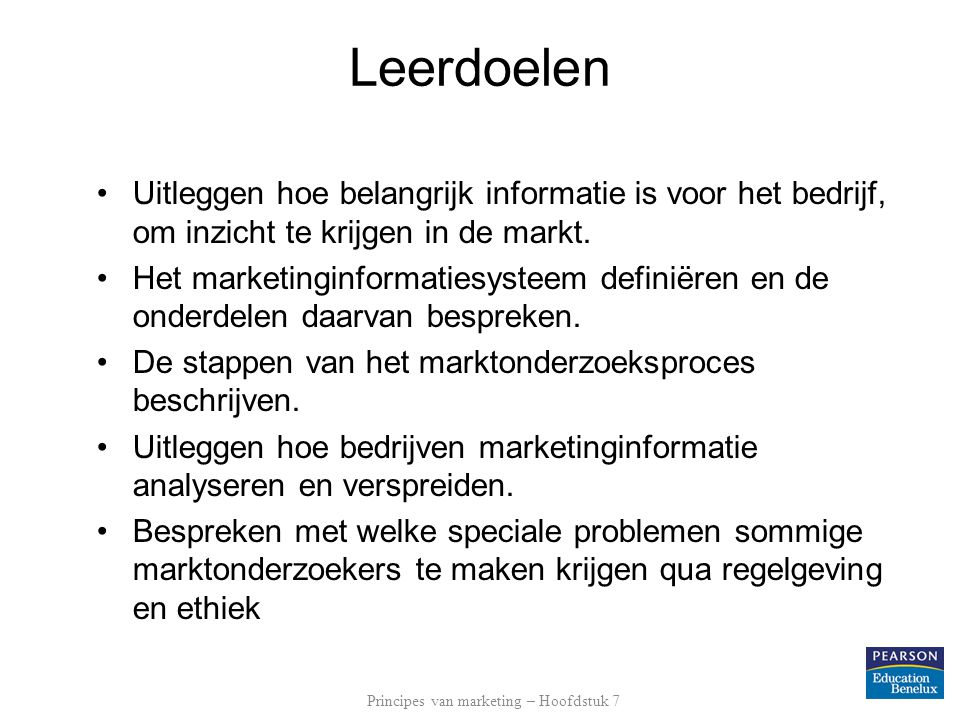 Principes van marketing – Hoofdstuk 7