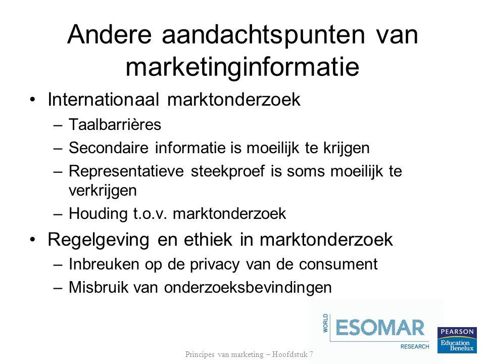 Andere aandachtspunten van marketinginformatie