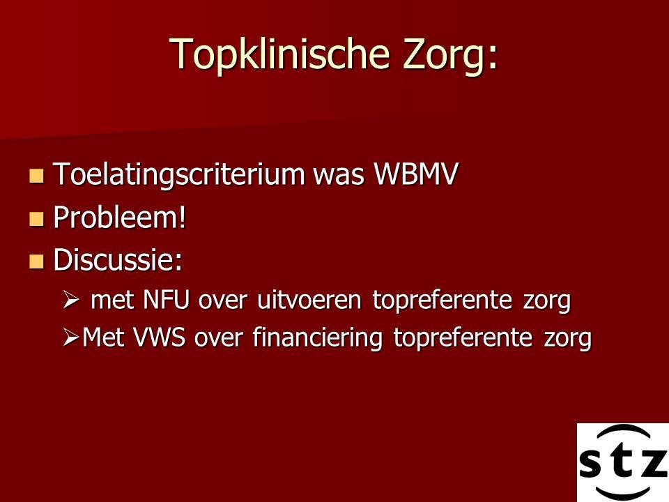 Topklinische Zorg: Toelatingscriterium was WBMV Probleem! Discussie: