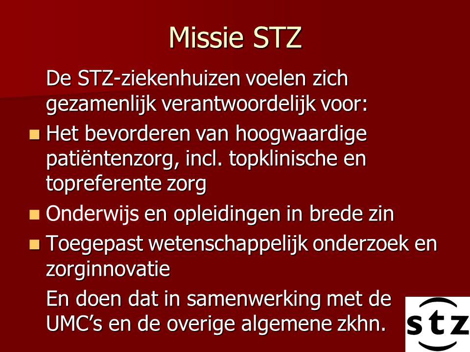 Missie STZ De STZ-ziekenhuizen voelen zich gezamenlijk verantwoordelijk voor: