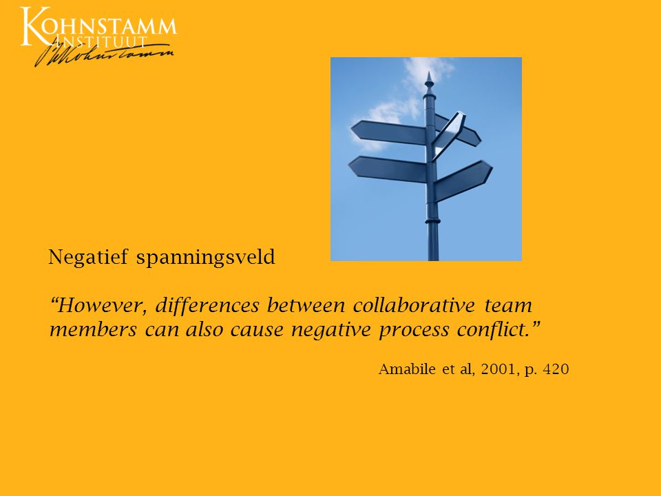 Negatief spanningsveld However, differences between collaborative team members can also cause negative process conflict.