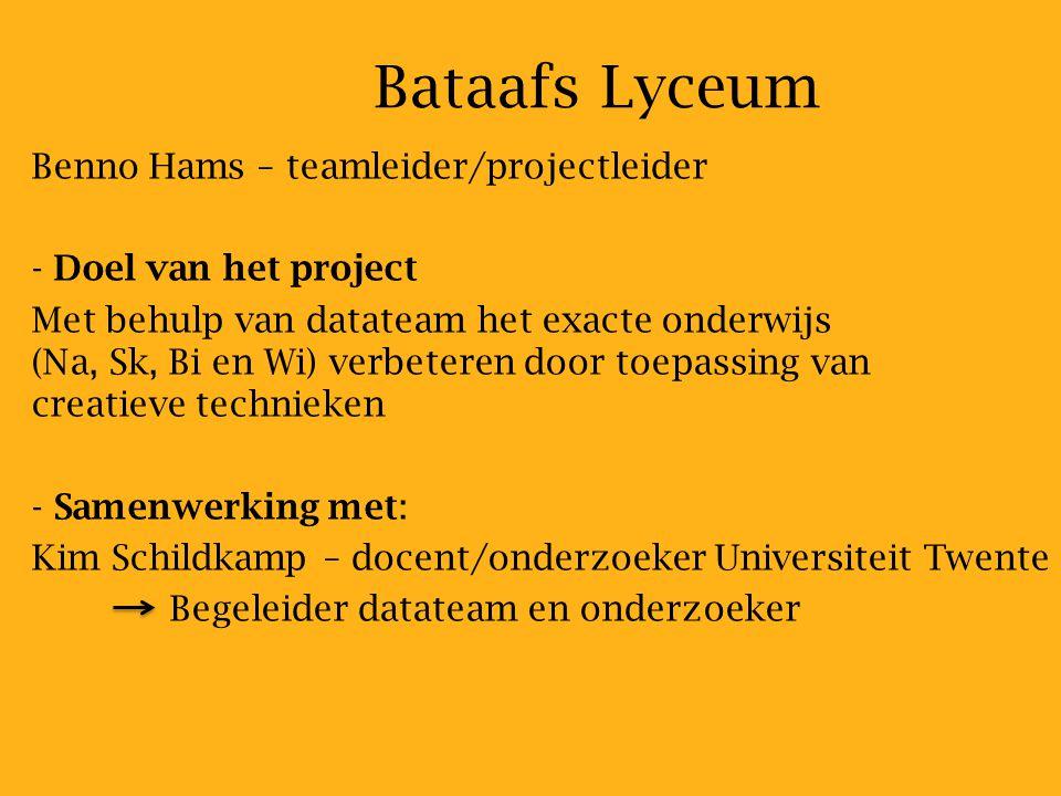 Bataafs Lyceum Benno Hams – teamleider/projectleider
