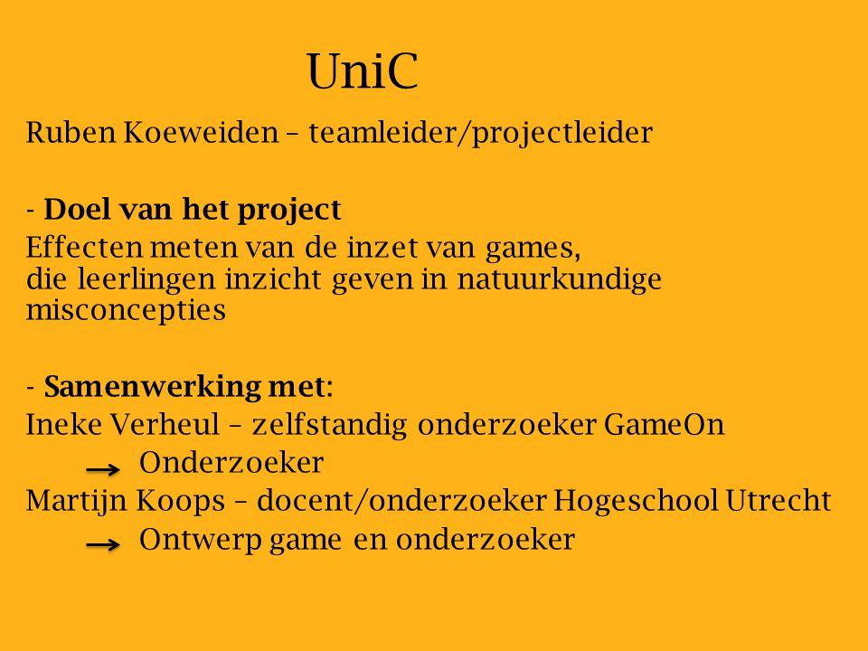 UniC Ruben Koeweiden – teamleider/projectleider Doel van het project
