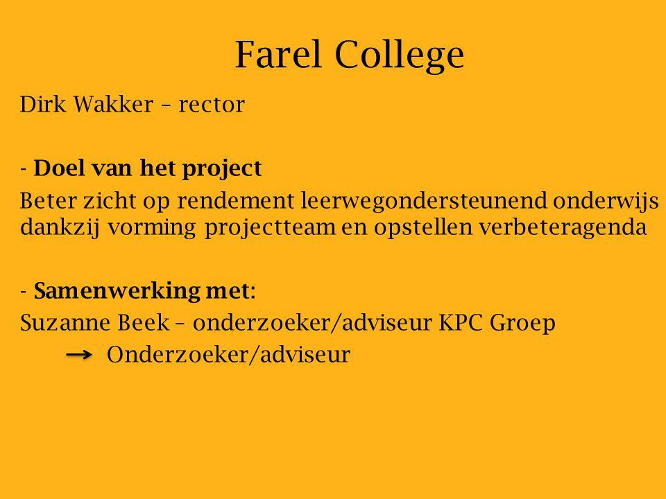 Farel College Dirk Wakker – rector Doel van het project