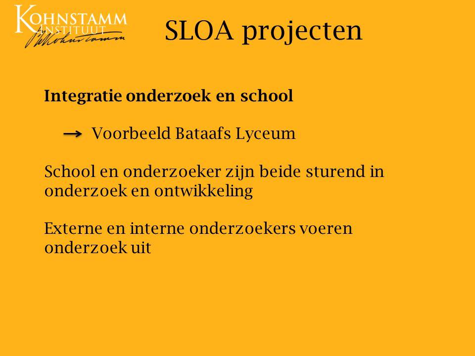 SLOA projecten Integratie onderzoek en school Voorbeeld Bataafs Lyceum