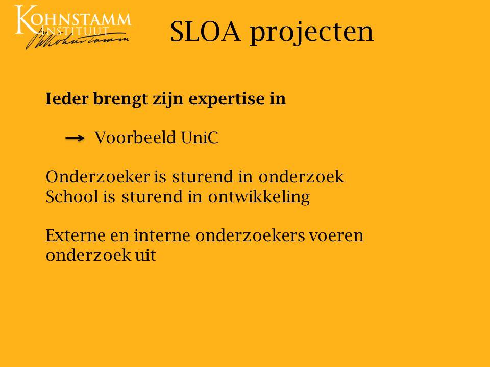SLOA projecten Ieder brengt zijn expertise in Voorbeeld UniC