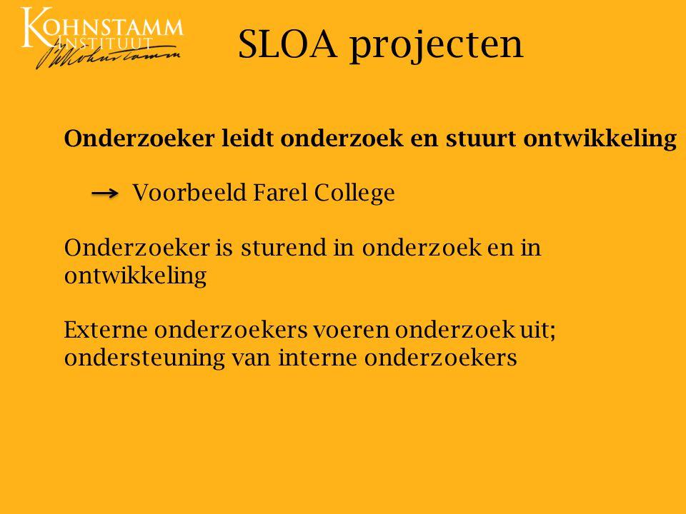 SLOA projecten Onderzoeker leidt onderzoek en stuurt ontwikkeling