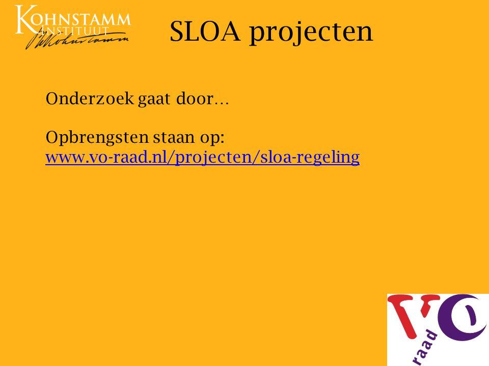 SLOA projecten Onderzoek gaat door… Opbrengsten staan op: