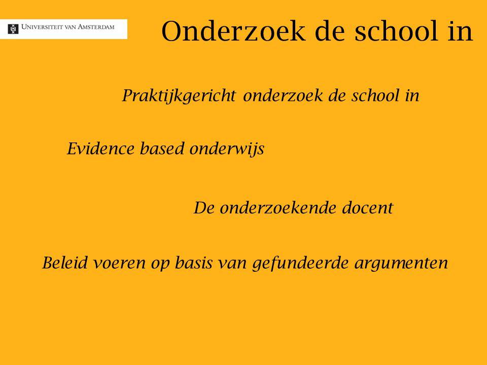 Onderzoek de school in Praktijkgericht onderzoek de school in