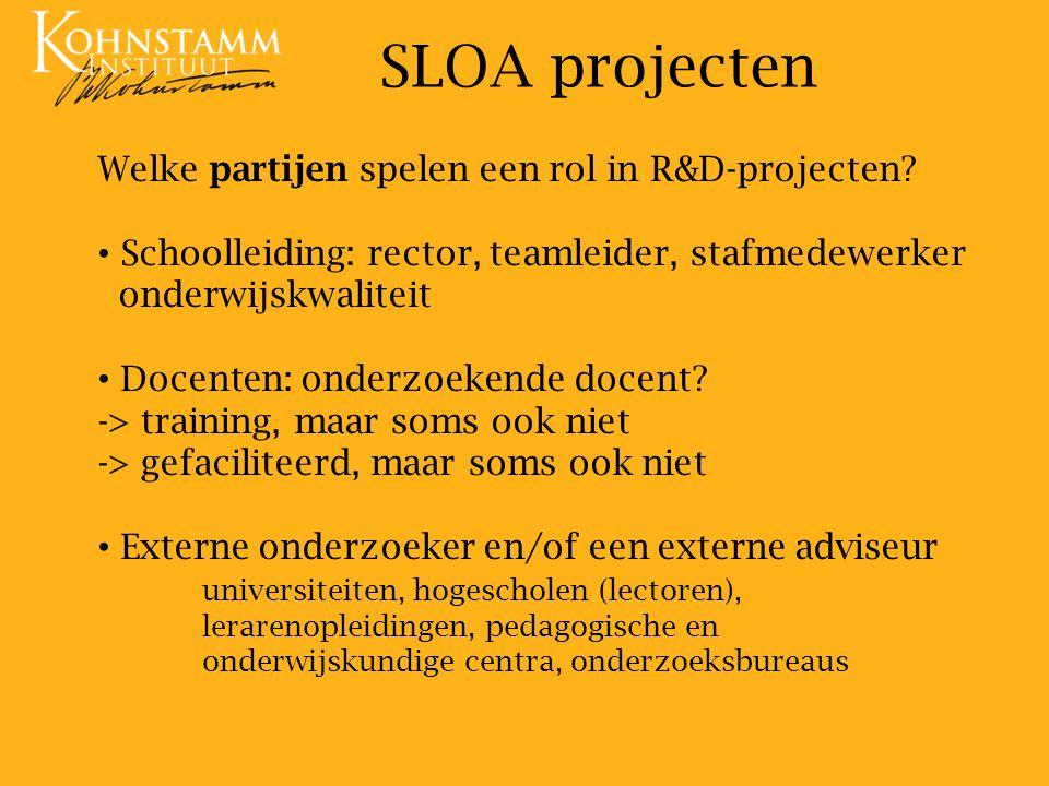 SLOA projecten Welke partijen spelen een rol in R&D-projecten