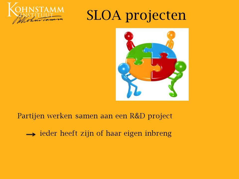 SLOA projecten Partijen werken samen aan een R&D project ieder heeft zijn of haar eigen inbreng.