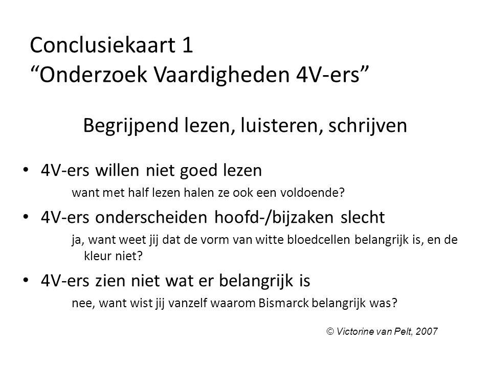 Conclusiekaart 1 Onderzoek Vaardigheden 4V-ers