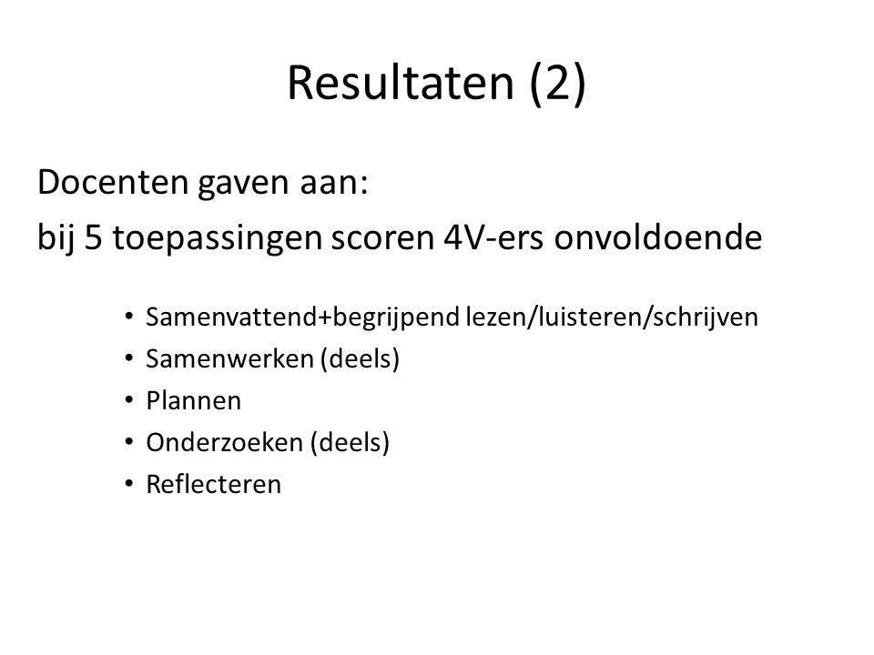 Resultaten (2) Docenten gaven aan: