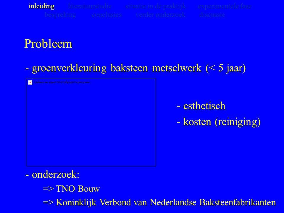 Probleem - groenverkleuring baksteen metselwerk (< 5 jaar)