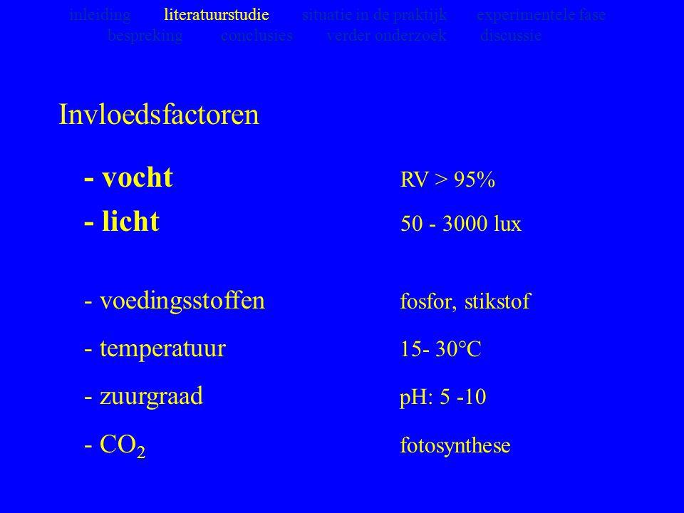 Invloedsfactoren - vocht RV > 95% - licht 50 - 3000 lux