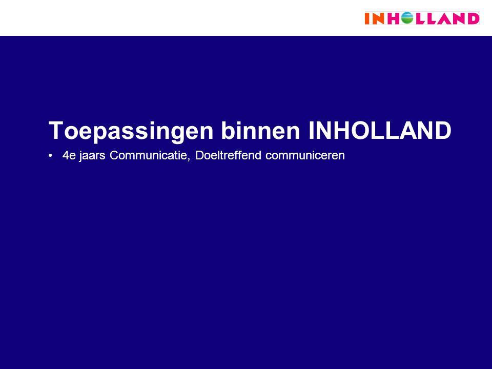 Toepassingen binnen INHOLLAND