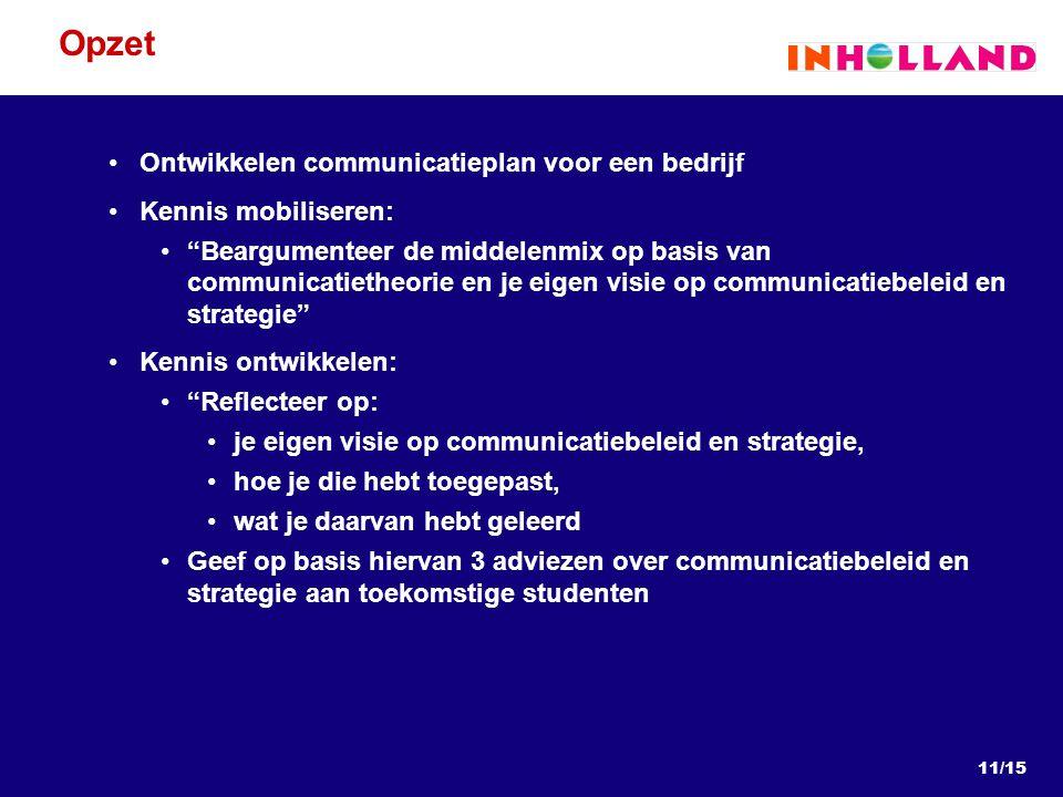 Opzet Ontwikkelen communicatieplan voor een bedrijf