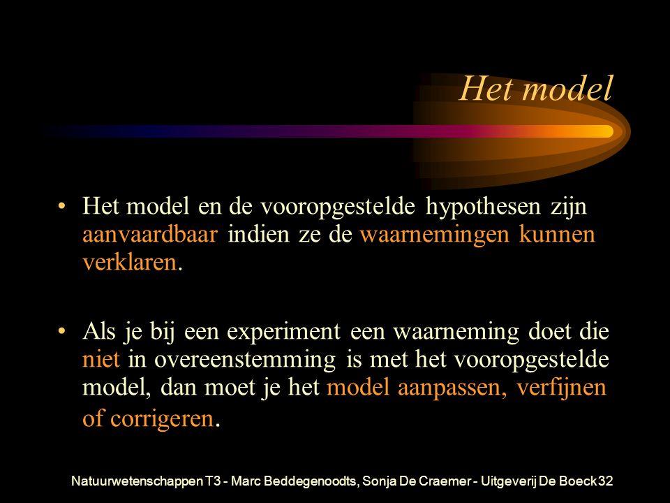 Het model Het model en de vooropgestelde hypothesen zijn aanvaardbaar indien ze de waarnemingen kunnen verklaren.