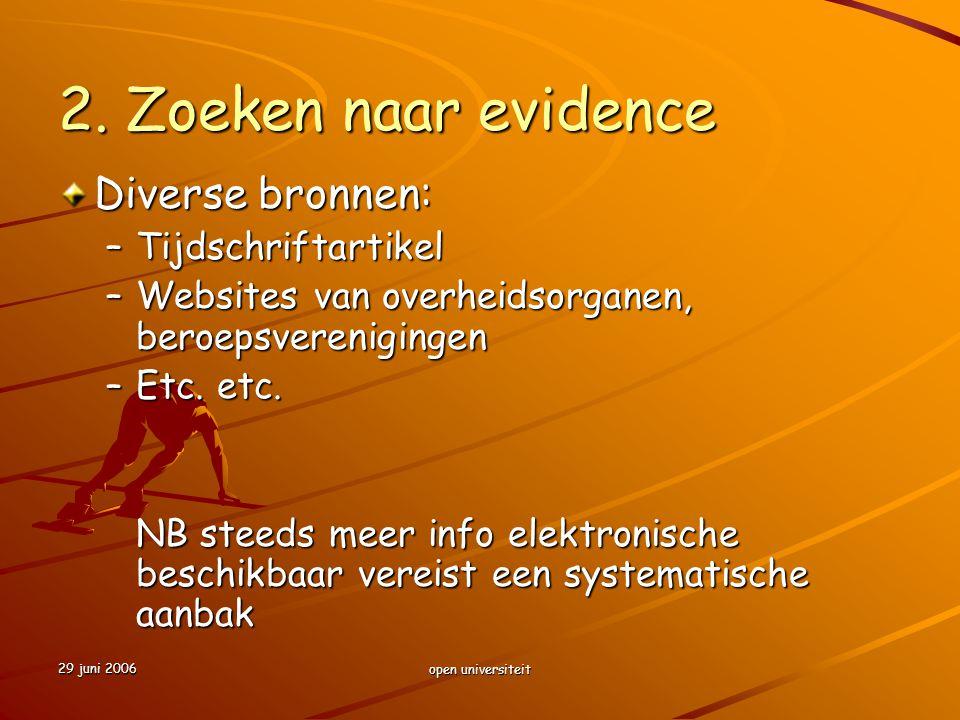 2. Zoeken naar evidence Diverse bronnen: Tijdschriftartikel