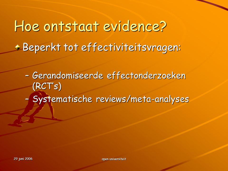Hoe ontstaat evidence Beperkt tot effectiviteitsvragen: