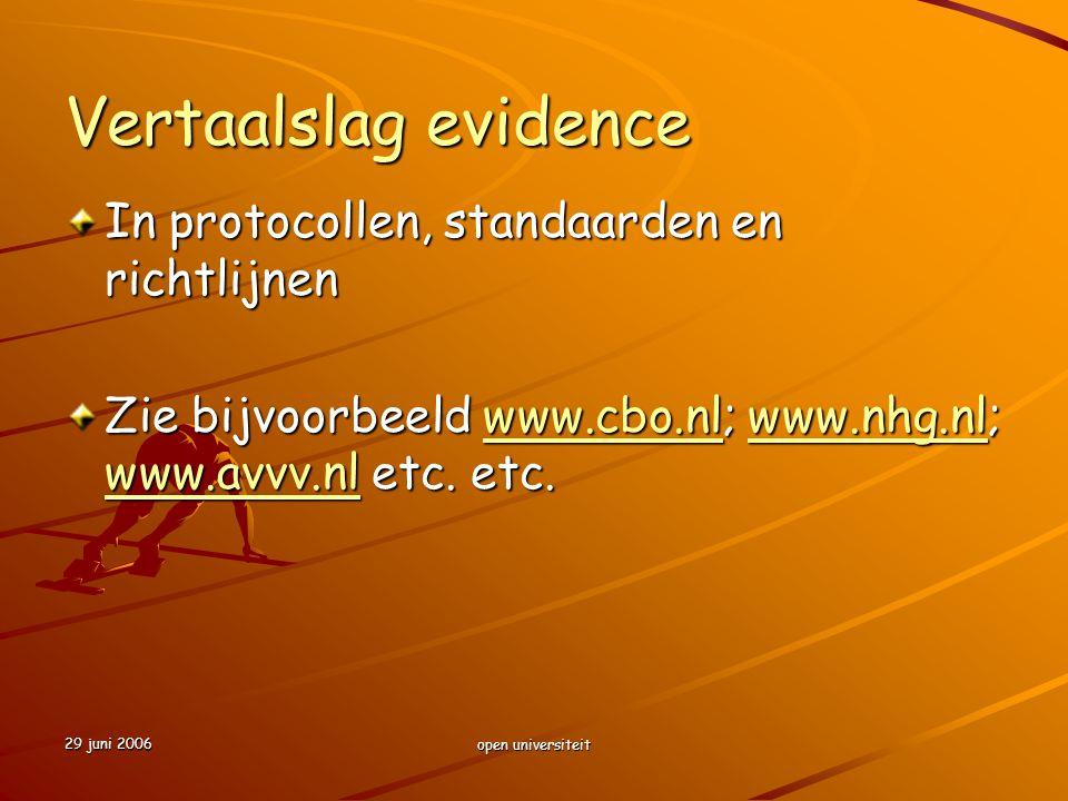Vertaalslag evidence In protocollen, standaarden en richtlijnen