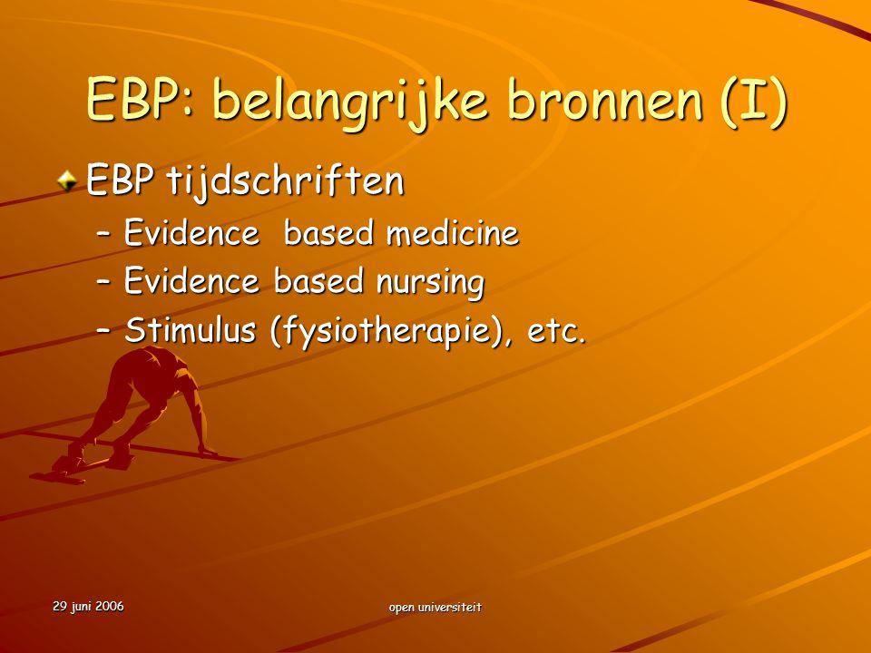 EBP: belangrijke bronnen (I)